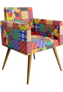 Poltrona Decorativa Nina Pés Palito Suede Patchwork - Ds Móveis - Kanui