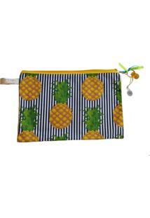 Necessaire Ania Store Pineapple G Amarelo
