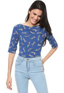 Blusa Malwee Gatos Azul