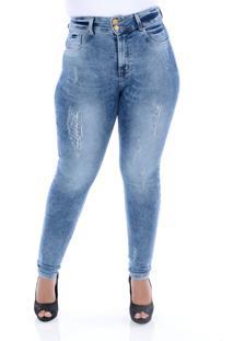 Calça Jeans Delavê Com Cinta Modeladora Xtra Charmy Azul