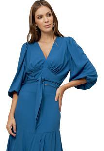 Blusa Mx Fashion De Viscose Com Mangas Bufantes Bella Azul - Kanui