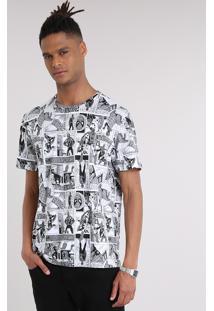 Camiseta Masculina Estampada De Quadrinhos Homem Aranha Manga Curta Gola Careca Off White