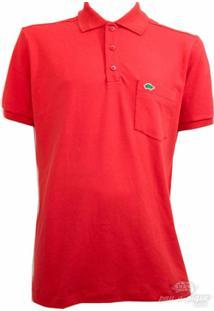 Camisa Pau A Pique Polo Com Punho - Masculino-Vermelho