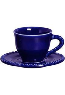 Xícara De Café Com Pires Bolinha Bolinha 6 Peças Azul Scalla