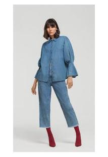 Camisa Manga Longa Detalhe Punho Jeans