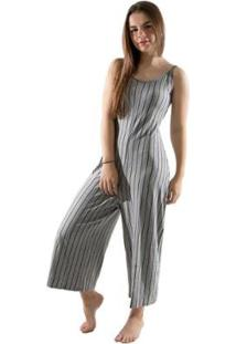 Macacão Pantacourt 4 Estações Listrado Moda Sem Bojo Feminino - Feminino-Cinza