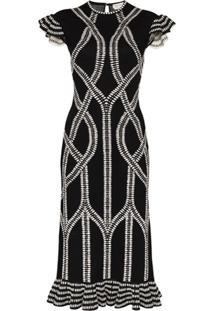 Alexander Mcqueen Intarsia Knitted Midi Dress - Preto