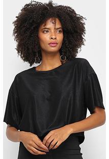 Camiseta Cavalera Tee Cropped Ampla Stardust Feminina - Feminino-Preto
