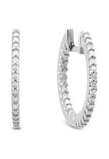 Argola Ouro Branco E Diamantes 16 Mm