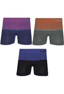 Kit Cueca Boxer Lupo Microfibra Sem Costura 3 Peças - Masculino-Azul+Verde