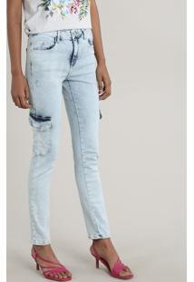 Calça Jeans Feminina Skinny Cargo Com Puídos Azul Claro