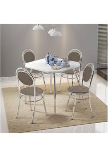 Mesa 1504 Branca Cromada Com 4 Cadeiras 190 Camurça Conhaque Carraro