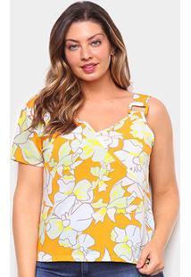 Blusa Allexia Plus Size Assimétrica Feminina - Feminino-Amarelo