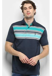 Camisa Polo Aleatory Listrada - Masculino-Marinho
