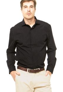 Camisa Perry Ellis Listras Preta