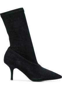 Yeezy Ankle Boot De Camurça Com Zíper Lateral - Grey