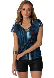 Blusa Feminina Decote Diferenciado Azul