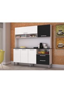 Cozinha Compacta Havana 5 Portas Linho Branco/Preto - Kits Paraná