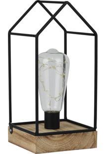 Luminária Kasa Ideia De Mesa Casinha Led Preto