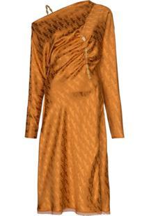 Versace Vestido Jacquard Midi - Laranja