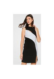Vestido Calvin Klein Curto Bicolor Preto/Branco