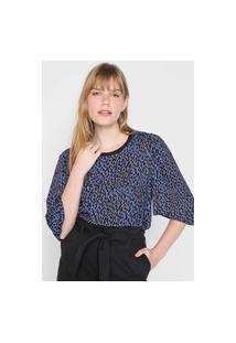 Blusa Colcci Estampada Azul/Preta