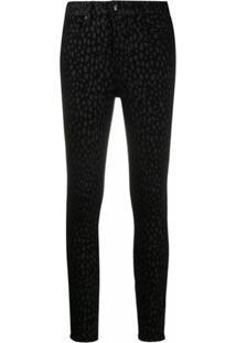 Good American Calça Jeans Skinny Com Estampa De Leopardo - Preto