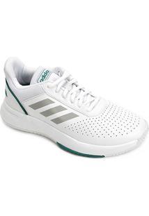 Tênis Adidas Courtsmash Masculino - Masculino-Branco+Verde