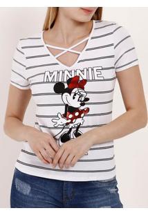 Blusa Manga Curta Feminina Disney Branco