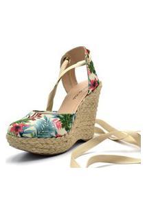 Sandália Anabela Salto Alto Em Tecido Floral