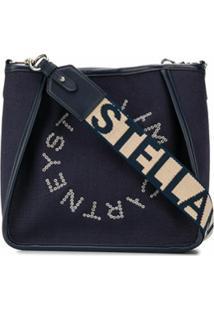 Stella Mccartney Bolsa Tiracolo Com Logo E Ilhós - Azul
