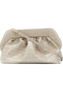 Themoirè Clutch Com Efeito Pele De Crocodilo - Neutro