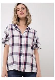 Camisa Xadrez Com Babados