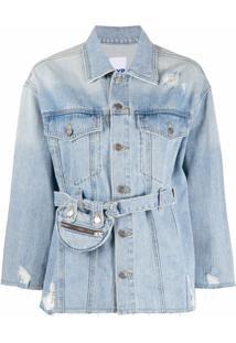 Sjyp Jaqueta Jeans Com Bolso E Cinto - Azul