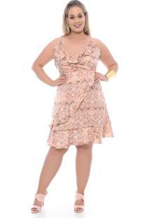 a50e3ec58 Chic e Elegante. Vestido Babado Folhas Plus Size