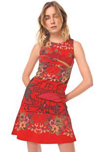 Vestido Desigual Curto Anna Vermelho