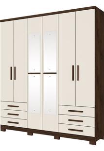 Guarda Roupa Casal Com 6 Portas De Bater Savini-Henn - Cafe / Off White