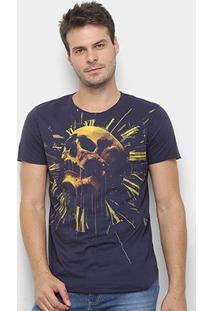 Camiseta Long Skull Clock Derek Ho Caveira Masculina - Masculino-Marinho