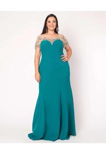 Vestido Almaria Plus Size Pianeta Longo Manga Curt