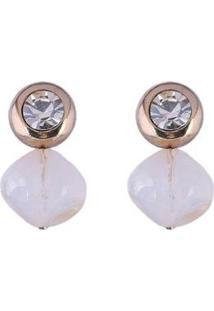 Brinco Armazem Rr Bijoux Pedra Transparente - Feminino-Dourado