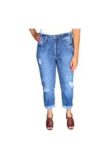 Calça Mom Multi Ponto Denim Jeans