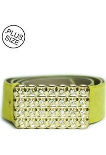 Cinto Feminino Plus Size - Confidencial Extra Com Fivela Quadrada Com Strass - Amarelo