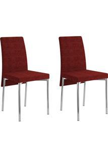 Kit 2 Cadeiras 306 Vermelho/Cromado - Carraro Móveis