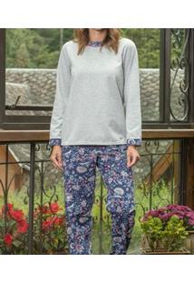 Pijama Longo Moletinho Mescla Floral Lua Cheia (9083) Poliviscose