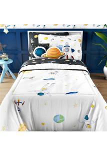 Edredom Infantil Solteiro Astronauta E Planetas Grão De Gent Multicolorido