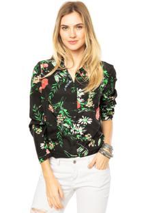 Camisa Mooncity Floral Preta