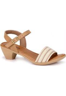 Sandália Salto Baixo Usaflex Caramelo