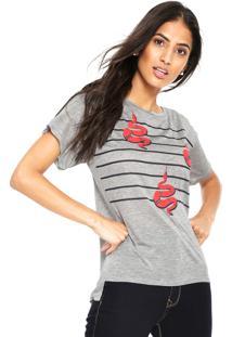 Camiseta Letage Stripes Cinza