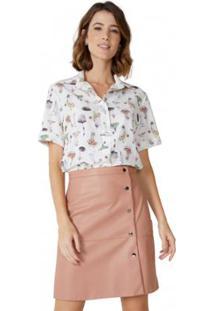Camisa Amaro Manga Curta Com Elastano Feminina - Feminino