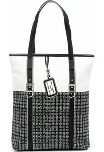 10 Corso Como Geometric-Print Panelled Shoulder Bag - Preto